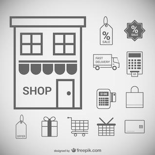 Supermercados ícones mínimos definidos
