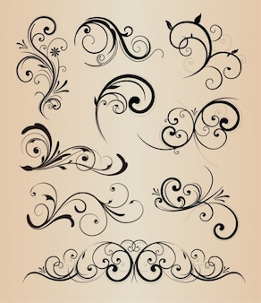 Swirly elementos florais vector pack