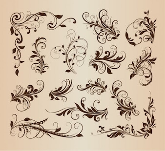 Elementos swirly florais em projeto do vintage