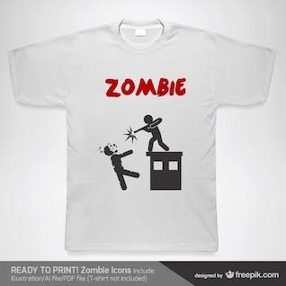 T-shirt modelo de zumbi vetor