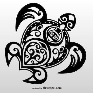 Tartaruga tribal vetor tatuagem