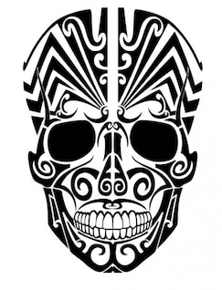 Tatuagem de caveira tribal do ponto de vista frontal