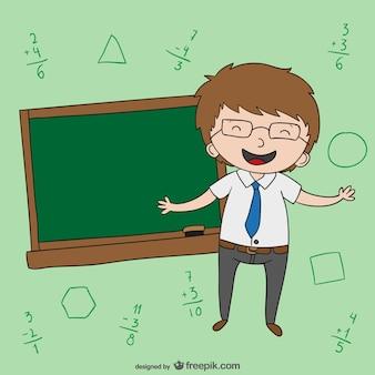 Professor com desenhos animados negro