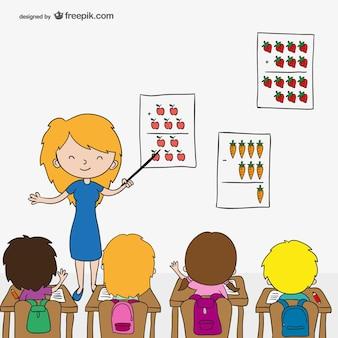 Professor com as crianças dos desenhos animados