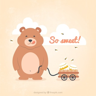 Teddy bear com o frasco de mel