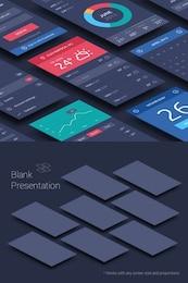 Telas de aplicativos perspectiva mock-up