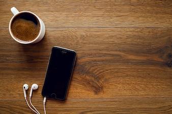 Telefone mesa abstrata escritório branco