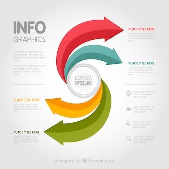 Template infográfico com setas coloridas