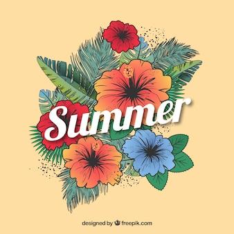 Temporada de Verão fundo floral