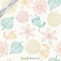 Teste padrão floral em estilo esboçado