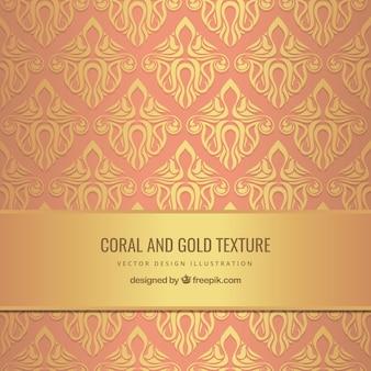 Textura coral e ouro no estilo ornamental