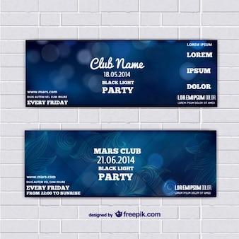 Banners modelo bilhete com fundo azul abstrato