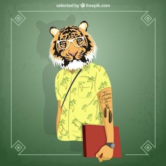 Tiger estudante Hipster