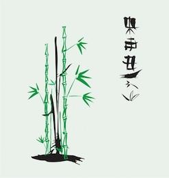 tinta vetor de bambu