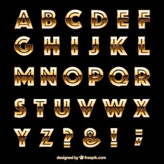 Tipografia dourado no estilo retro