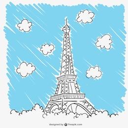 Torre Eiffel e nuvens