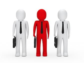 Trabalhador vermelho com dois companheiros brancos