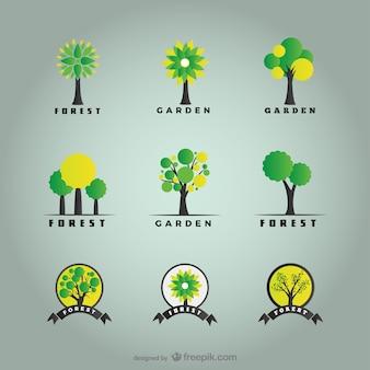 As árvores e os logos florestais pacote