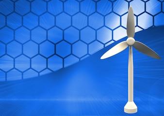 Turbina de energia elétrica do metal azul digitais