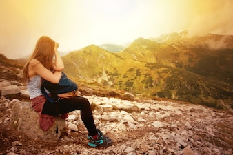 Turismo nas montanhas.