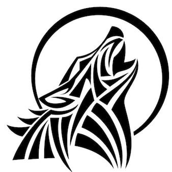 Uivo de lobo do vetor do estilo tribal