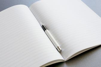 Um caderno aberto com uma pena no fundo cinzento escuro, trabalho da cena ou estudo.