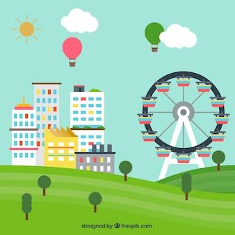 Paisagem urbana com uma grande roda