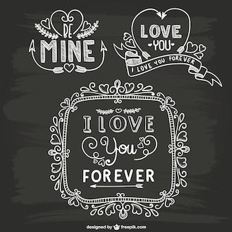 Valentine ornamentos quadro-negro
