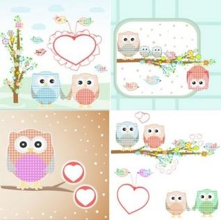 Valentine corujas de pano em quatro cenas