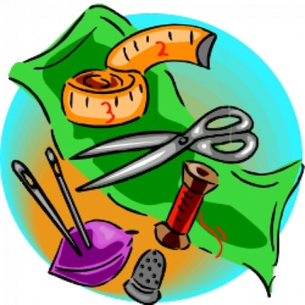 várias ferramentas de costura