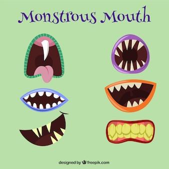 Variedade de bocas monstruosas
