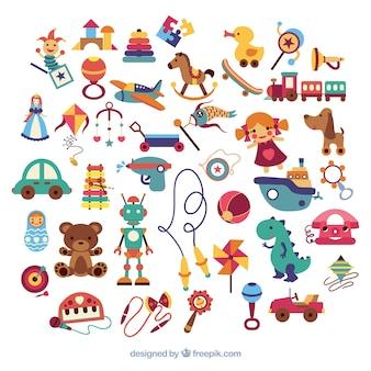 Variedade de brinquedos do miúdo