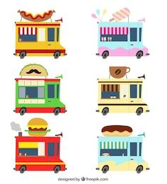 Variedade de caminhões de alimentos
