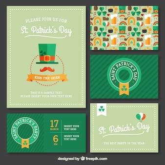 Variedade de convites da festa de São Patrício