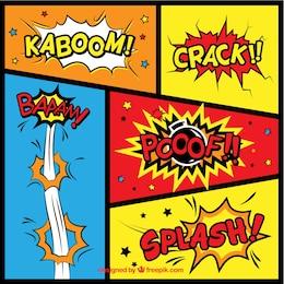 Variedade de efeitos sonoros em quadrinhos