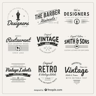 Variedade de emblemas em estilo retrô