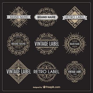 Variedade de etiquetas retros