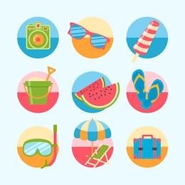 Variedade de ícones coloridos do verão