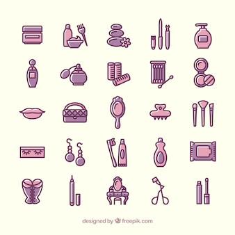 Variedade de ícones da beleza