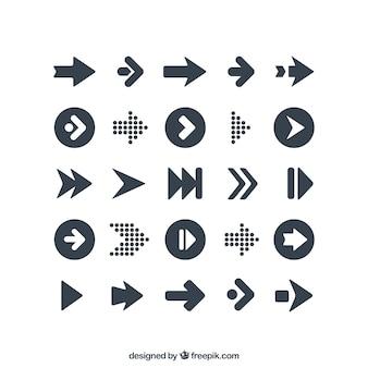 Variedade de ícones das setas