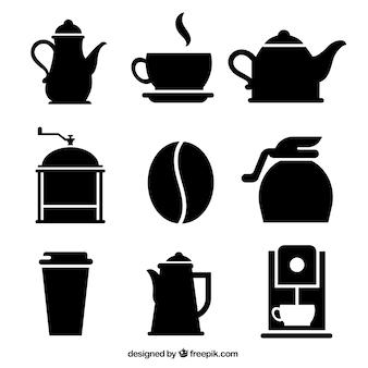 Variedade de ícones do café