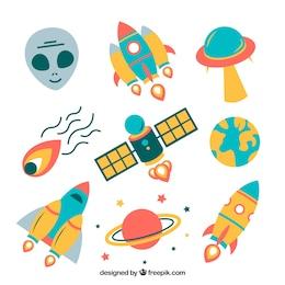 Variedade de ícones do espaço