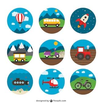 Variedade de ícones do transporte