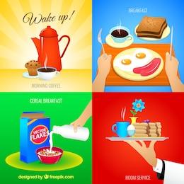 Variedade de ícones pequeno-almoço