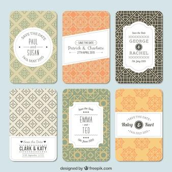 Variedade de padrões para convite de casamento