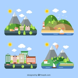 Variedade de paisagens