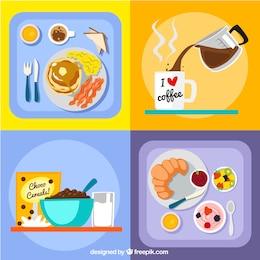 Variedade de receitas de café da manhã