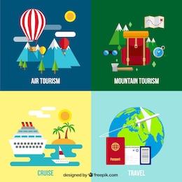 Variedade de temas de viagem