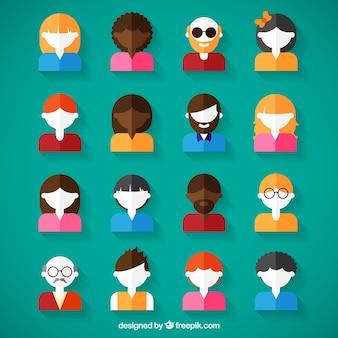 Variedade de avatares em design plano