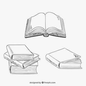 Variedade de livros esboçado